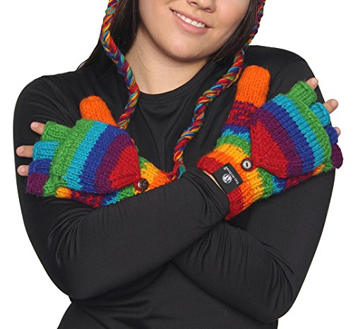 Rainbow Hand Knit 100% Wool Convertible Fingerless Mittens Nepal