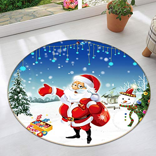 (3D Santa Claus 002 Non Slip Rug Mat Room Mat Round Quality Elegant Photo Carpet AJ WALLPAPER Zora)
