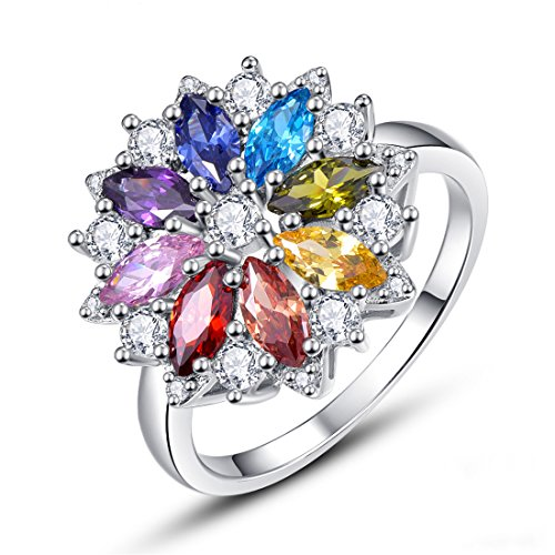 Jrose Women's Sterling Silver Multi-Color Gemstone with CZ Stones Cluster Flower Cocktail Engagement Ring (Silver Sterling Gemstone Flower Ring)