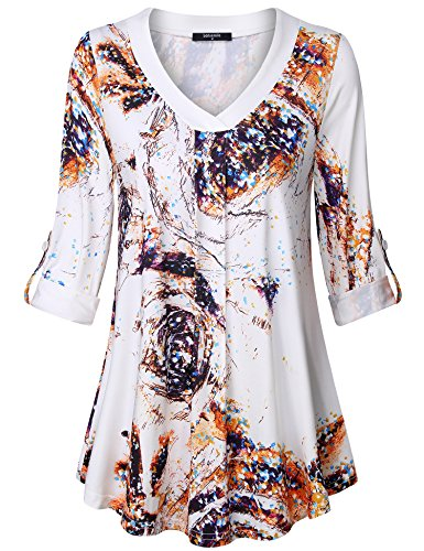 Lotusmile Long Sleeve Tops Women,Ladies Pleated V Neck A Line Elegant Floral Print Blouse Loose Casual Tunic Shirt 3/4 Cuff Sleeve,Multiwhite XL by Lotusmile