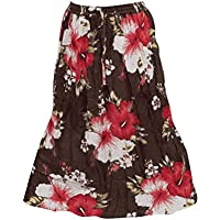 Mogul Womens Bohemian Skirt Floral Printed Cotton Crinkle Gypsy Skirts