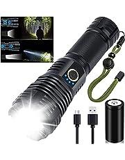Amzyigou Led-zaklamp, 10.000 lumen, oplaadbaar, extreem helder, IPX67 waterdicht, 5 lichtmodi, zoombaar, tactische zaklamp, kleine zaklamp voor camping en noodgevallen, 26650 batterij