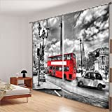 LB Room Darkening Thermal Insulated Blackout Curtains for Bedroom Living Room,Ride on London's red Bus 2 Panels Noise Reducing Window Treatment 3D Window Drapes Kids,142 Inch Width by 108 Inch Length