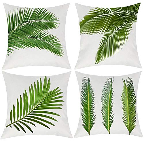Wilproo Palm Leaf Throw Pillow Cushion Cover, Realistic Vivid Leaves of Palm Tree Growth Ecology Lush Botany Themed Print, Decorative Square Accent Pillow Case, 18 X 18 Inches, Green White