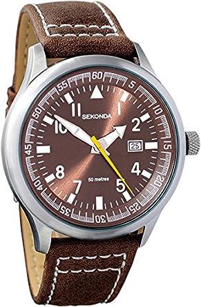 99218b55e8d1 Sekonda Gents Brown Dial Date Strap WR Watch 3882: Sekonda: Amazon ...