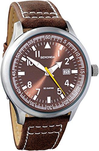 466c8804ed Sekonda Gents Brown quadrante di facile lettura orologio con cinturino in pelle  marrone con data Counter