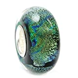Sterling Silver Blue Green Foiled European Style Glass Bead Charm
