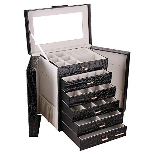 ROWLING Schmuckkoffer mit 5 Schubladen Schmuckkasten Kosmetikkoffer Schatulle ZG231BK
