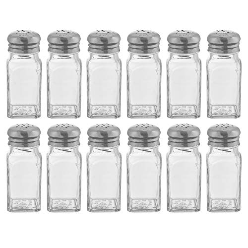 ((Set of 12) Square Body Salt and Pepper Shakers, 2-Ounce Glass Salt and Pepper Shakers with Mushroom Tops, Restaurant Salt and Pepper Shakers By Tezzorio)