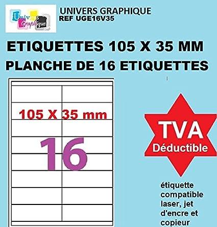 50 A4 hoja 16 etiqueta de papel etiqueta adhesiva 105 X 35 mm para ...