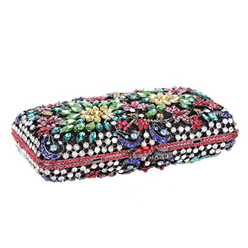 Evening Purse Bonjanvye Match Rhinestone Multicolor Dressing for Clutch Crystal Flower Women qwBUg0w