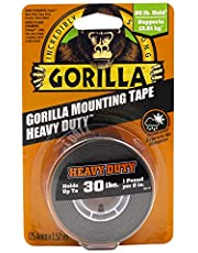 Gorilla Heavy Duty Double Sided Mounting Tape, Hanging, Instant 30lb Strong Hold, Permanent Bond, Weatherproof, 1 in x 60 in, Black, (Pack of 1), 6155002
