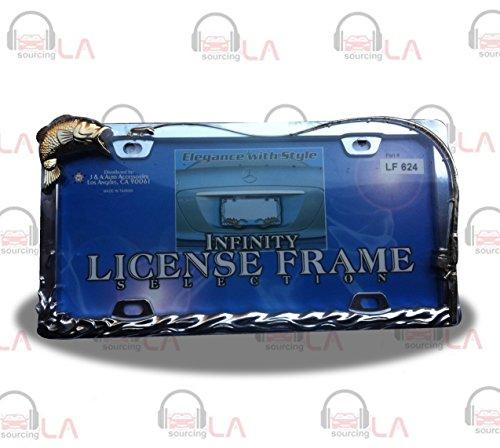 NEUTRON License Plate Frame BASS Fishing CHOME/Gold ()