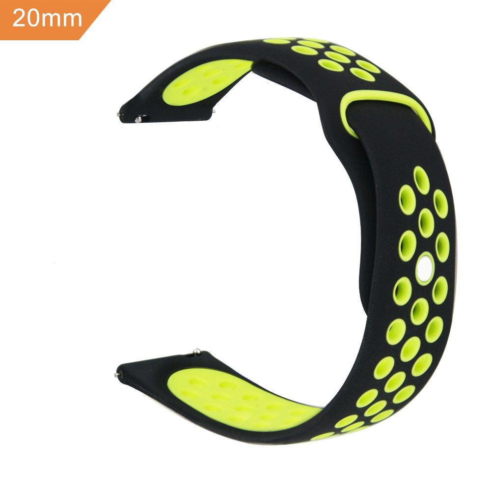 20mm Silicone Watch Band Quick Release Breathable, iBazal Silicone Replacement for Samsung Gear Sport/ Samsung Gear S2 Classic/ Huawei Watch 2 20mm/ Fossil Q Control Smart Watch 20mm(Black/Yellow)