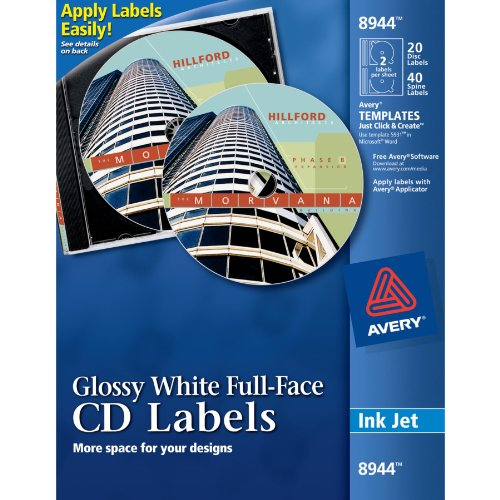 Label Cd Avery - Avery Full-Face CD Labels for Inkjet Printers, Glossy White, 20 Disc Labels and 40 Spine Labels  (8944)