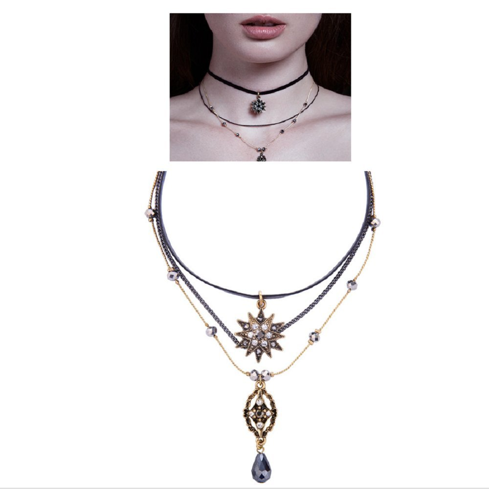 Ashley Women's Choker Velvet Ribbon Leather Pendant Collar Ribbon Adjustable Collar Necklace (Style-A, alloy)