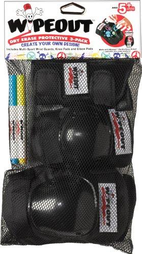 Wipeout Youth 3-Pack Pad, Black, Medium (Triple Eight Knee Pads Kids)