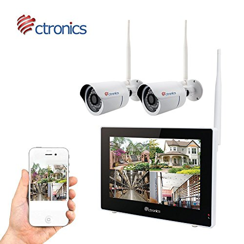 (TOUCH SCREEN)Wireless Camera System Home Security Camera Set (720p) Two Wi-Fi Video Surveillance Cams w/ Real-Time Touchscreen Monitor | Motion Detection, Night Vision | Indoor/Outdoor|Phone Remote
