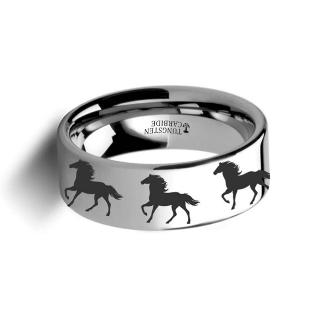 Thorsten Animal Trotting Running Horse Equestrian Print Pattern Ring Polished Tungsten Ring 4mm Wide Wedding Band from Roy Rose Jewelry