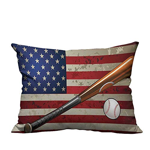 YouXianHome Sofa Waist Cushion Cover Baseball Bat and Ball on Foreground of Star Spangled Banner National Sports Decorative for Kids Adults(Double-Sided Printing) 11x19.5 inch