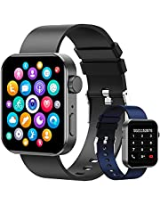 """Smartwatch, 1.72"""" Reloj Inteligente Hombre Mujer Pulsera Actividad, Reloj Inteligente Con Función de llamada Bluetooth y Sms Por Bluetooth, Con Monitor De Frecuencia Cardíaca, Monitor De Calorías, Sueño, Recordatorio Sedentario,Relo Deportivo Pantalla Táctil Completa Compatible con IOS, Android. (Negro + Azul)"""