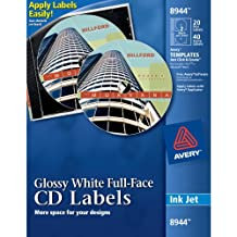 Avery Full-Face CD Labels for Inkjet Printers, Glossy White, 20 Disc Labels and 40 Spine Labels (08944)