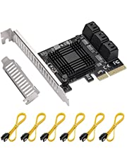 PCI Express 6 Ports 4X Card, 6 Gbps SATA 3.0 PCIe Expansion Card, Non-Raid, Supports HDDS, with Low Profile Bracket and 6 SATA Cables, Plug and Play on Windows OS, MAC OS and Linux Systems.