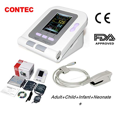 CONTEC08A FDA Approved Fully Automatic Digital Upper Arm Blood Pressure Monitor (4 Cuffs&Adult spo2 Probe)