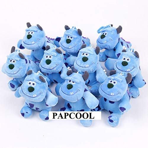 PAPCOOL Set 10 Sulley Plush Keychain 3.75 inch Hot Toys Monster Plushes Toy Monsters Inc Stuff Dolls Stuffed Doll Christmas Collectible Halloween Big Collectable Gift Collectibles Gifts for Kids Baby ()