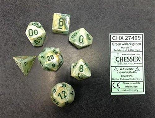 Chessex CHX27409 Dice-Marble Dark Green Set -