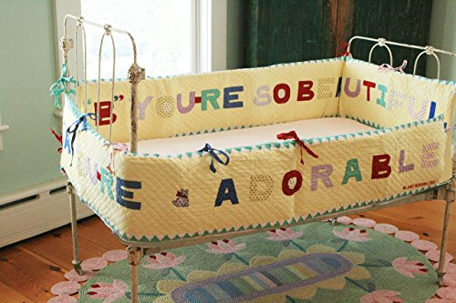 Designed by Judi Boisson ''A'' You're Adorable'' ''B'' ''You're so Beautiful'' Yellow Bumper. Cotton. Washable. by JUDI BOISSON