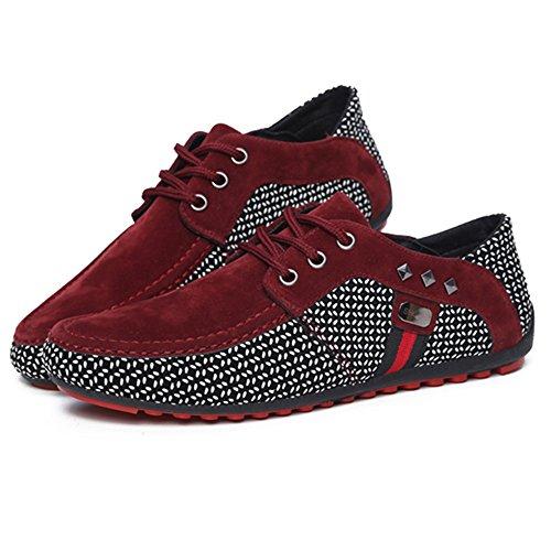 Rojo Respirable Ante Zapatos Moda Ligero Plano Cómodo Mocasines Hombre Cuero Ocio Suave Custome Zapatos Ponerse TfRq876x