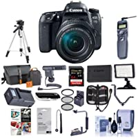 Canon EOS 77D DSLR with EF-S 18-135mm F3.5-5.6 IS USM Lens - Bundle With 64GB SDXC Card, Camera Bag, Tripod, Video Light, Shotgun Mic, Spare Battery, Remote Shutter Release, Software Package, And More