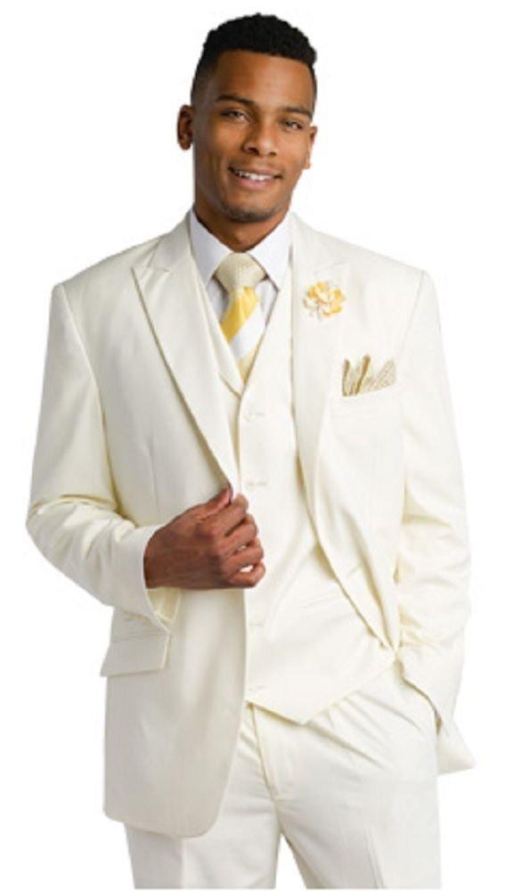 EJ Samuel Tailored Fit Cream 3 Piece Mens Suits M2683 Suit For Men (46 L) Long Man Jacket