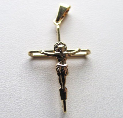 14kt Gold Overlay Beautiful and Elegant Crucifix About 1 (Gold Overlay Crucifix)
