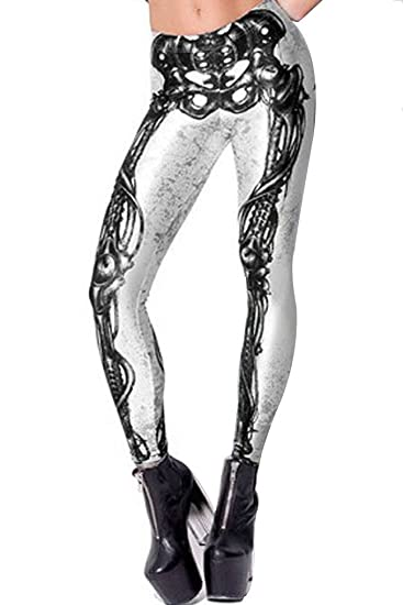 fcac8e9c7f9ba Amazon.com: Lady Stylish Black Milk Mechanical Bones White Leggings ...