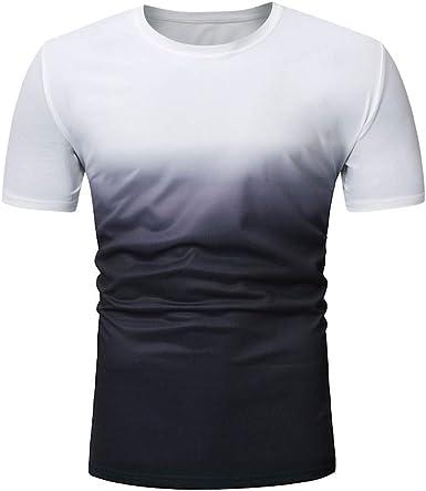 waotier Camiseta De Manga Corta para Hombre Camiseta De Cuello Redondo con Efecto Degradado para Hombre Ropa Hombre De Verano De Moderno: Amazon.es: Ropa y accesorios
