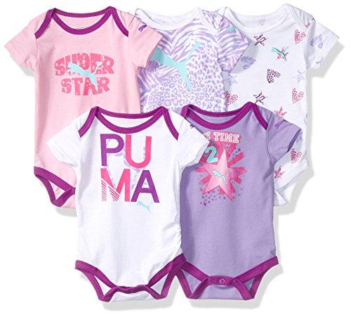 PUMA Girls 5 Pack Sleeve Bodysuits