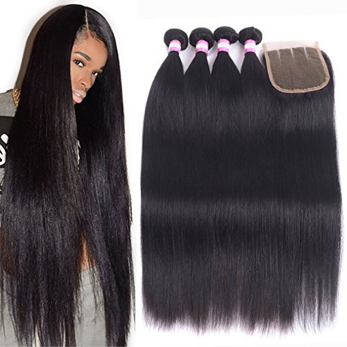 8A Brazilian Remy Hair With Lace Closure Straight Human Hair 4 Bundles Weave With 4x4 Closure 100% Unprocessed Virgin Straight Hair Extension Natural Color (18 20 22 24+Closure 16, Three Part)