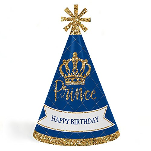 Royal Prince Charming - Cone Happy Birthday Party Hats for Kids and Adults - Set of 8 (Standard Size)]()