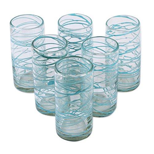 NOVICA Clear Blue Eco-Friendly Hand Blown Glass Water Glasses, 11 oz, 'Aquamarine Swirl' (set of 6) (Swirl Water)