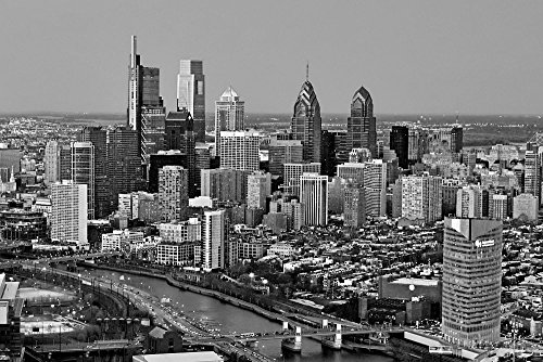 2018 Dusk Night TWO SIZES Black & White BW Philly City Downtown 12 inches x 18 inches Photographic Panorama Poster Print Photo Picture ()