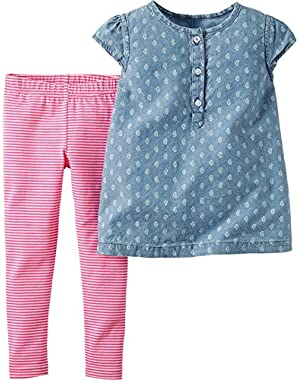Baby Girls' 2 Piece Print Chambray Top Legging Set
