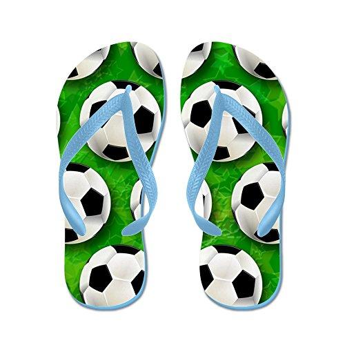 Cafepress Soccer Ball Modèle De Football - Tongs, Sandales String Drôle, Sandales De Plage Bleu Caraïbes