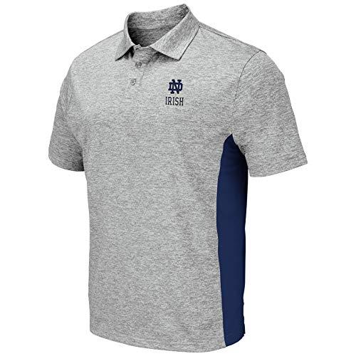 1958e7279a6 Colosseum Men's NCAA-Drive- Golf/Polo Shirt-Heather Grey-Notre Dame  Fighting Irish-Large