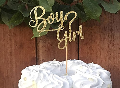 Dulcet Downtown Gender Reveal Cake Topper Boy Girl ? Gold Glittered Cake Topper by