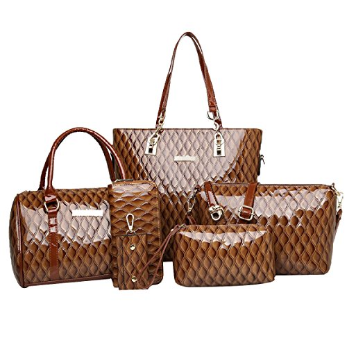 Bag 6 Bag Skin Women Brown Bright Set Tote Handbag Top handle Pieces d51xxz