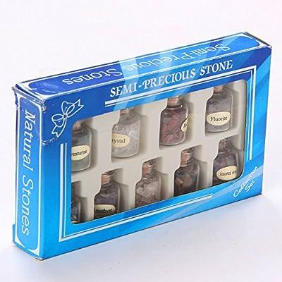 TGS Gems 9 Bottles Mini Tumbled stone Gemstone Mine Chip Sz Crystal Healing Tumbled Gem Stones Reiki Wicca Set