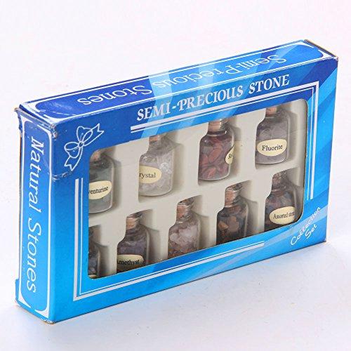 TGS Gems 9 Bottles Mini Tumbled stone Gemstone Mine Chip Sz Crystal Healing Tumbled Gem Stones Reiki Wicca Set ()