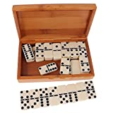 Fityle Double Six Dominoes Set of 28 Traditional Board Travel Game Toy Bamboo Box